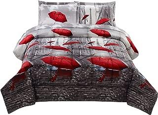 HIG 3D Comforter Set Queen - 3 Piece 3D Effiel Tower Red Umbrella Print Comforter Set Queen Size (Y39) - Box Stitched, Soft, Breathable, Hypoallergenic, Fade Resistant -Includes 1 Comforter, 2 Shams