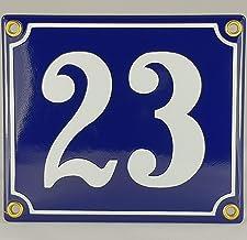 Huisnummer email bord nr. 23 blauw-wit Nr. 23 / Blau-Weiß inkl. Schrauben und Dübel