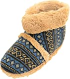 SNUGRUGS Mens Knitted Style Slipper Boots/Booties with Warm Faux Fur Lining and Cuff