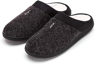 FUNKYMONKEY Men's Winter Warm Slippers Cashmere Upper Berber Fleece Lined Anti-Skid Comfort House Shoes