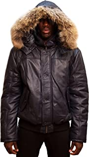 Men's Winter Warm Genuine Leather Bomber Jacket with Real Fur Hood Navy