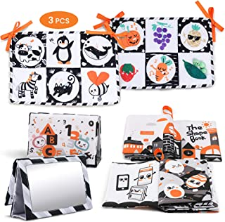 TUMAMA 3 Packs Newborn Black White Toy Gifts Sets, Soft Cloth Shape Book, Crib Play Mats High Contrast Double Sides, Floor...