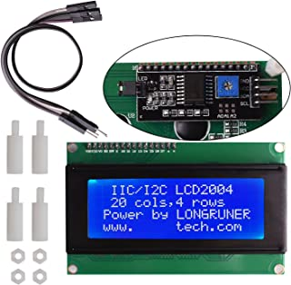 Longruner UNOR3 MEGA 2560, 20x4 LCD Display Module IIC/I2C/TWI Serial 2004 with Screen Panel Expansion Board White on Blue, 4 pin Jump Cables Wire Included with ArduinoIDE