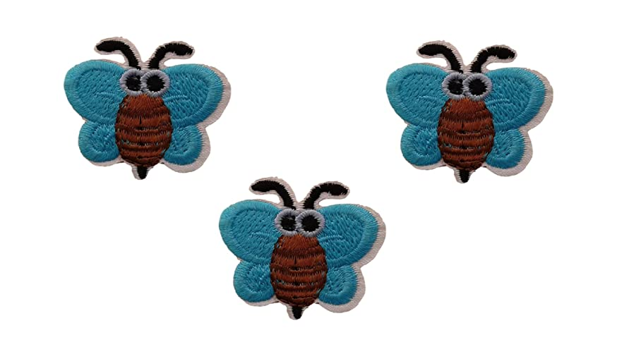 3 small pieces Turqoise Blue BUMBLEBEE Iron On Patch Applique Animal Insect Honey Bee Motif Children Scrapbooking Decal 1.4 x 1.3 inches (3.5 x 3.3 cm)