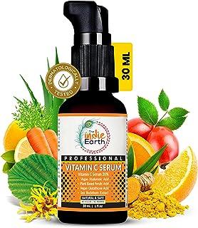 The Indie Earth Vitamin C Serum with Turmeric, Vitamin E, Vegan Hyaluronic Acid, Ferulic Acid and Vegan Glutathione Acid S...