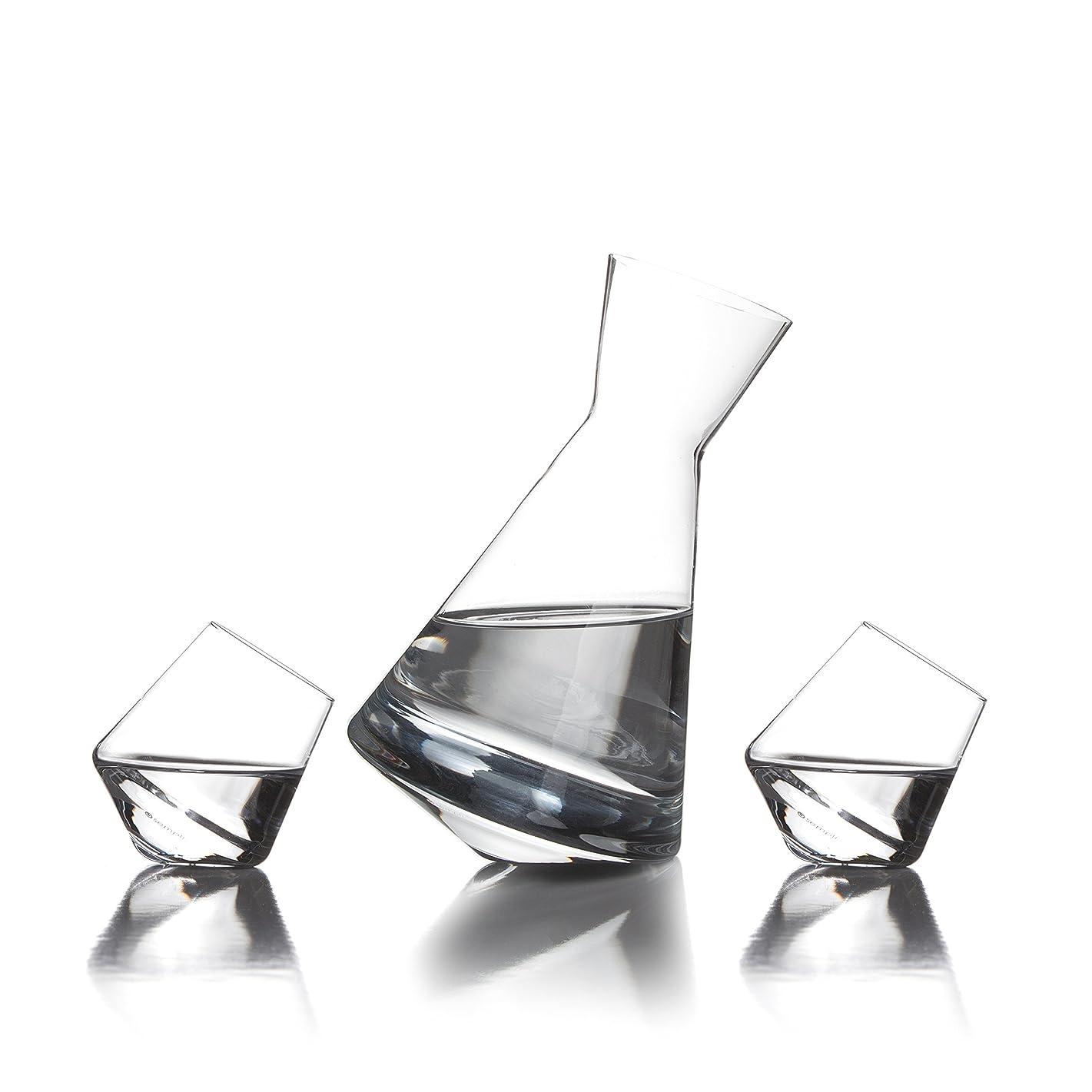 インストール機械的にスプリットVaso Sake Setの手吹きクリスタルガラスVaso Decanter with 2?cupa-shot Glasses