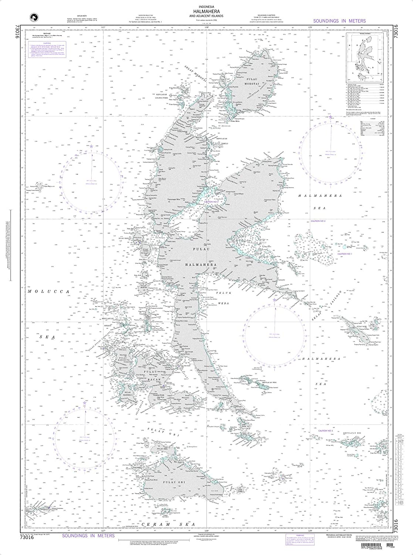 Elegant NGA Chart 73016 Halmahera Adjacent Malay 5 popular Islands Archipelago 35