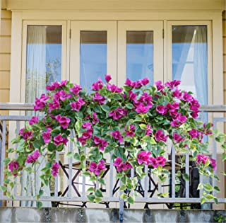 Skyseen 2pcs Artificial Hanging Plants Fake Vines Silk Ivy Leaves Greenery Garland Morning Glory Artificial Flower
