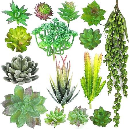 Artificial Plastic Succulent Flocking Plants Home Cafe Floral Decor Props