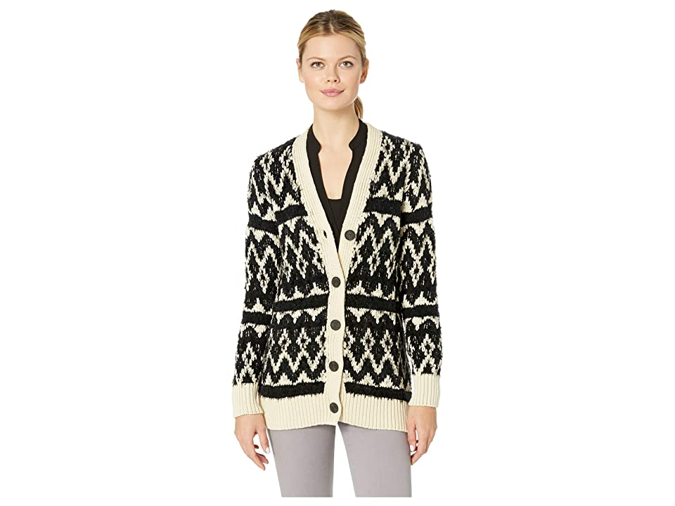 Lucky Brand Diamond Fair Isle Cardigan Sweater (Natural Multi) Women