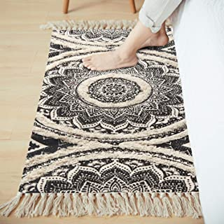 LEEVAN Mandala Cotton Rug 2' x 4.3' Rectangle Woven Tassel Throw Black Area Rug Fringe Print Tufted Chic Doormat Machine W...