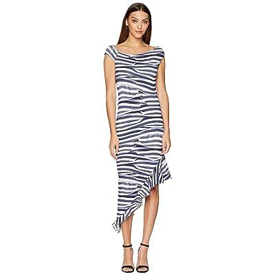 Nicole Miller Off Shoulder Dress (Blue/White) Women