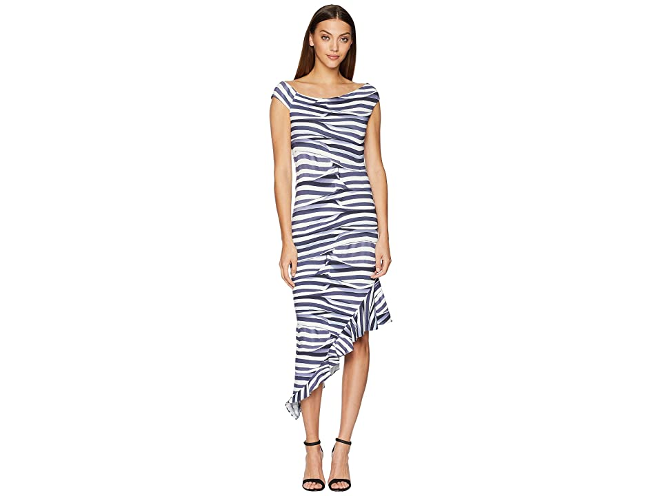 Nicole Miller Off Shoulder Dress (Blue/White) Women