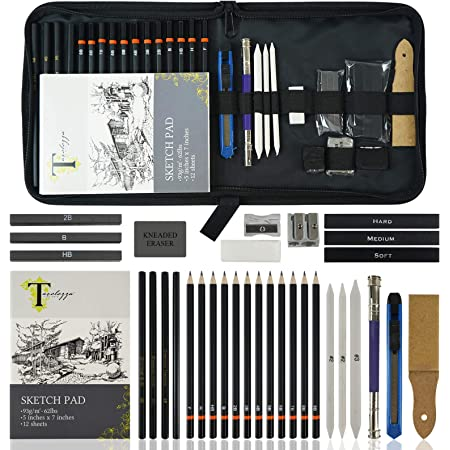 Tavolozza Drawing Art Pencils Set, 34 Pack Professional Drawing and Sketch Pencil Set in Soft-Sided Art Portfolio Storage Bags for Kids, Teens and Adults.