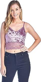 Women's One Size Velvet V Neck Spaghetti Strap Lace Hem Cami Crop Top
