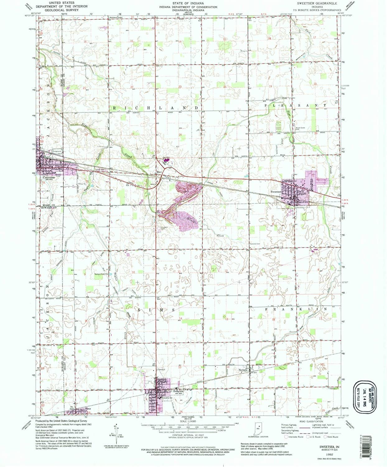 Sweetser in topo map, 1 24000 Scale, 7.5 X 7.5 Minute, Historical, 1992, Updated 1995, 26.9 x 22.1 in