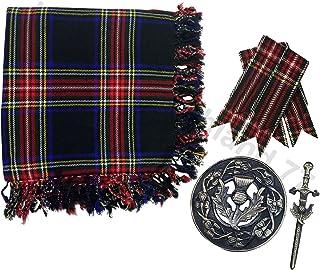"Kilt Fly Plaid 48"" X 48"" Scottish Highland Fly plaid Brooch & Pin Antique/Kilt Flashes Set"