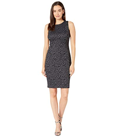 Calvin Klein Sleeveless Animal Print Sheath Dress (Black/Cream) Women