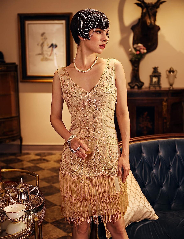 1920s Style Dresses, 20s Dresses BABEYOND Womens Flapper Dresses 1920s V Neck Beaded Fringed Great Gatsby Dress Beige  AT vintagedancer.com