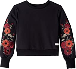 Fleece Embroidered Long Sleeve Crew Neck Sweatshirt (Big Kids)