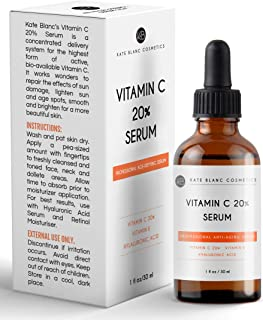 Vitamin C Serum for Face 20% with Hyaluronic Acid & Vitamin E by Kate Blanc. Anti-aging Facial Oil to Reduce Appearance of Fine Lines, Wrinkles, Dark Spots, Scars, Acne. Tighter, Toned Skin. (1 oz)