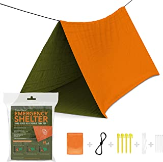 Swiss Safe Emergency Survival Shelter Tent (Reversible Two-Sided Tent) + Paracord, Tent Spikes, Zip-Ties: 100% Waterproof, Ultralight and Extra Large …