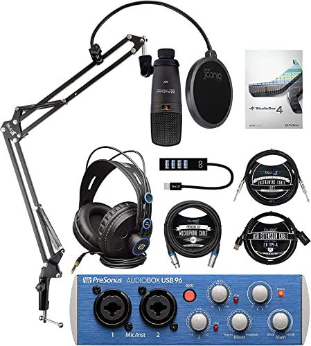 popular PreSonus AudioBox 96 Studio USB 2.0 Recording Bundle with Interface, Headphone, Microphone discount & Studio One Artist, Blucoil Boom Arm, 10' XLR & Instrument Cables, USB-A Mini Hub and 3' USB Extension outlet online sale Cable online sale
