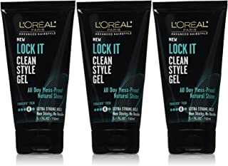 L'Oreal Paris Advanced Hairstyle Lock It Clean Style Gel, 5.1 Fluid Ounce (Pack of 3)