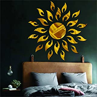 Atulya Arts 3D Acrylic Sun Flame Mirror Decorative Wall Stickers with Extra 10 Butterfly Sticker ,(45cm X 45cm) - Pack of ...