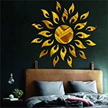 Wall1ders Atulya Arts 3D Acrylic Sun Flame Mirror Decorative Wall Stickers with Extra 10 Butterfly Sticker ,(45cm X 45cm) ...