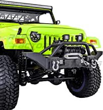 Restyling Factory 97-06 Jeep Wrangler TJ Rock Crawler Front Bumper with Winch Mount Plate, Built in 2x Square LED Side Mount (Black) (Black)