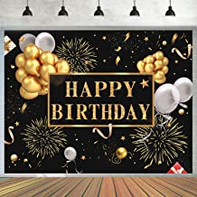 7x5ft Happy Birthday Backdrop Golden Balloons Stars Fireworks Party Decoration, Black Gold Sign Poster Photo Booth Backdrop Background Banner for Men Women 30th 40th 50th 60th 70th 80th Bday Party Supplies