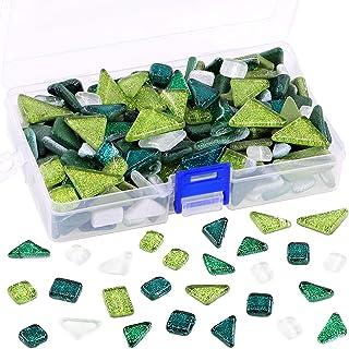 Swpeet 1 Pound Mixed Colors Shine Crystal Series Mosaic Tiles Assortment Kit, Square and Triangle Genuine Mosaic Tiles Gli...