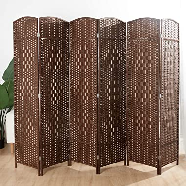 Weave Fiber Room Divider, Natural Fiber Folding Privacy Screen with Double Hinge & 6 Panel Room Screen Divider Separator for