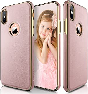 LOHASIC iPhone XS Case, iPhone X Case Slim Luxury Pink Soft Flexible PU Leather Anti-Slip Grip Scratch Resistant Protective Pretty Cover Girly Cases for iPhone X 10 XS New Version (2018) - [Rose Gold]
