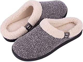 Women's Comfort Wool-Like Memory Foam Slippers Fuzzy Plush Slip-ons