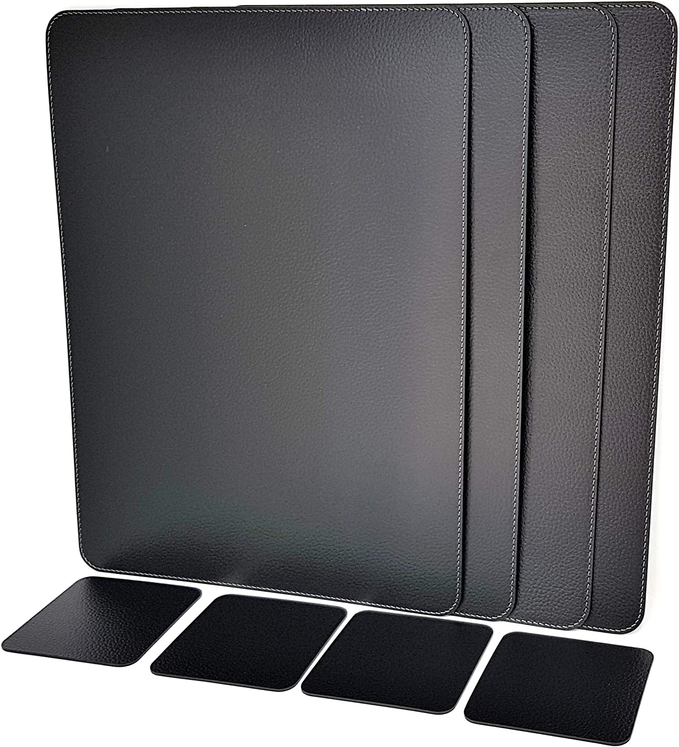 Nikalaz Set of Black Placemats and Coasters, 4 Table Mats and 4 Coasters, Recycled Leather, Place Mats 18'' x 13'' and Coasters 3.9'' x 3.9'' (Black)