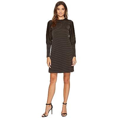 Donna Morgan Leg of Mutton Sleeve Dress (Black/White Stripe) Women