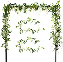 Felice Arts 2 Pcs Artificial Flowers 6.6ft/Piece Silk Wisteria Ivy Vine Green Leaf Hanging Vine Garland for Wedding Party Home Garden Wall Decoration (2 Pcs Cream)