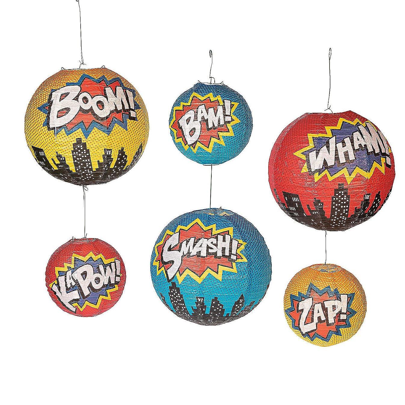 Superhero Hanging Paper Lanterns - 6 Pieces