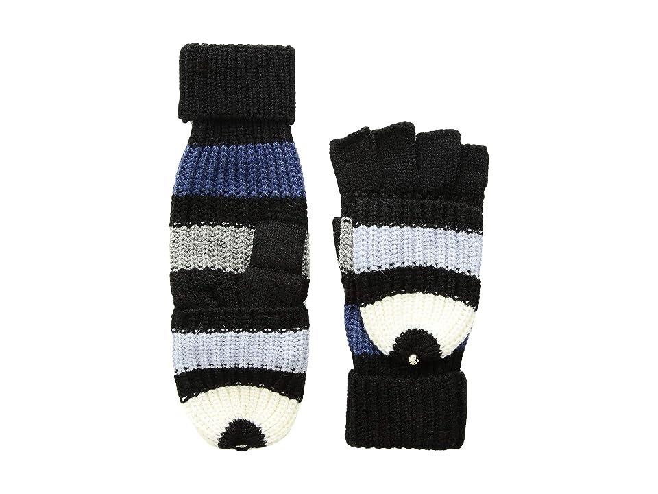 Kate Spade New York Wide Stripe Pop Top Mitten (Black/Rich Navy) Gore-Tex Gloves