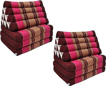 Wifash Coussin Thailandais triangle XXL avec assise 2 plis canap/é kapok 81417 plage Bordeaux//Rose d/étente fauteuil matelas jardin