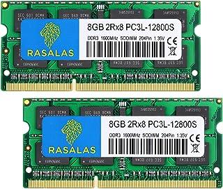 Rasalas DDR3 16GB Kit (2x8GB) DDR3 1600MHz PC3L-12800S Non ECC Unbuffered 1.35V CL11 2Rx8 Dual Rank SODIMM Laptop Memory Ram