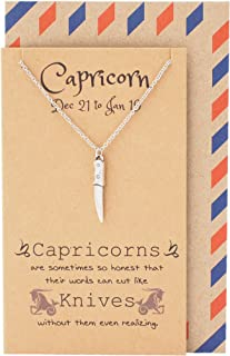 Quan Jewelry Zodiac Astrology Capricorn Knife Pendant Necklace, Birthday Gifts for Women, Teens, Girls, Chefs and Bakers with Inspirational Greeting Card