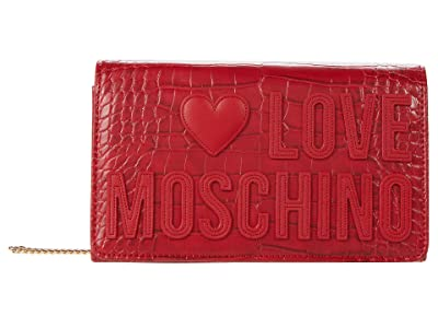 LOVE Moschino Crocco Crossbody (Red) Handbags