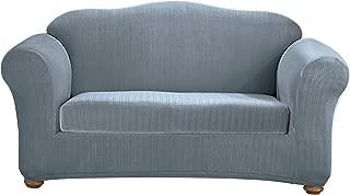SureFit Stretch Pinstripe 2-Piece - Sofa Slipcover  - French Blue (SF35835)