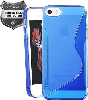 Apple iPhone SE, iPhone 5, iPhone 5S - Soft TPU Transparent S-Shape Case + PET Film Screen Protector - SCTS Blue