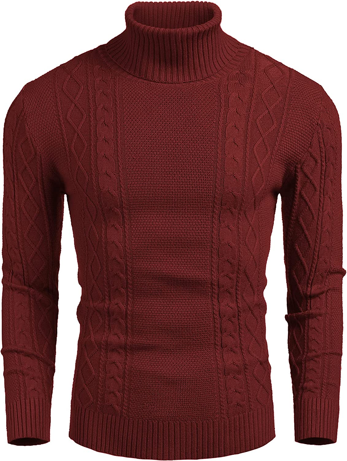 COOFANDY Men's New Beauty products popularity Thermal Turtleneck Sweater Fit Cable Casual Slim