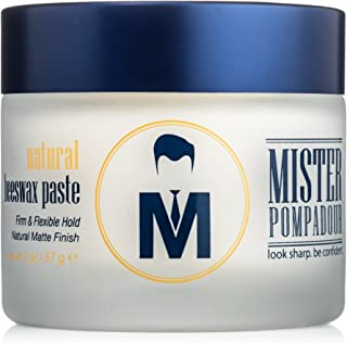 Mister Pompadour Natural Beeswax Paste | Matte Hair Product for Men & Women | HIgh Hold & No Shine | Water Based - Easy To...