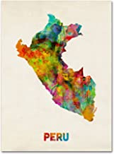 Peru Watercolor Map Artwork by Michael Tompsett, 14 by 19-Inch Canvas Wall Art